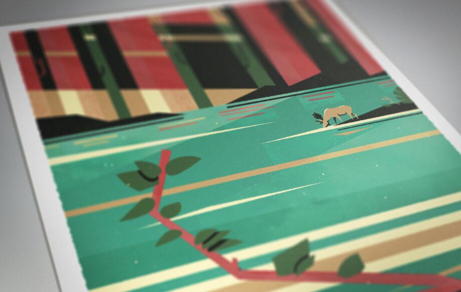 détail Affiche poster élan forêt