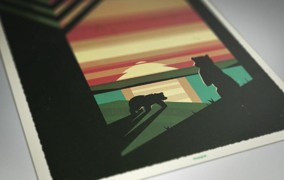 zoom cadre affiche ours lac couché de soleil