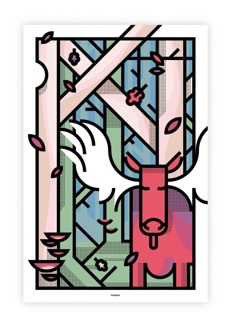 Affiche poster élan orignal automne graphique