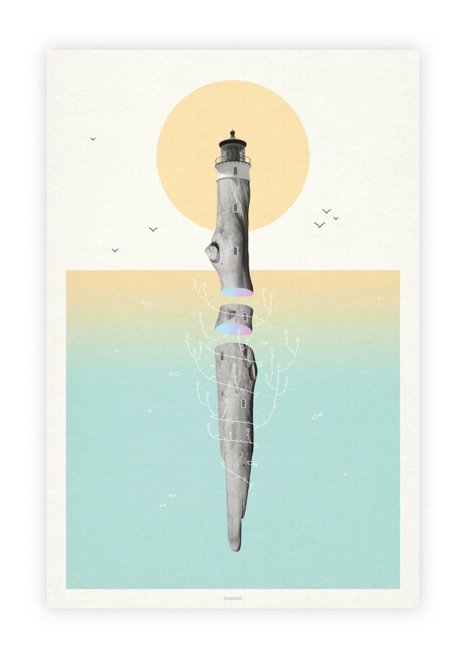 Affiche poster phare bois flotté