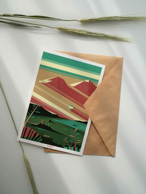 carte postale montagne et renard