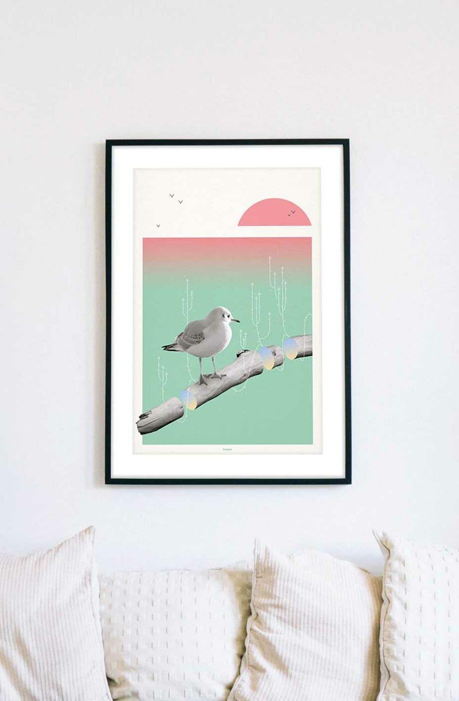 cadre Affiche poster goéland bois flotté
