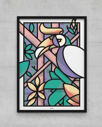 Affiche poster calao graphique jungle toucan