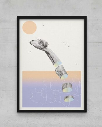 Affiche poster bois flotté bernard l'hermite coquillage