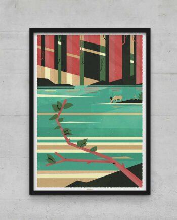 Affiche poster élan graphique forêt et rivière