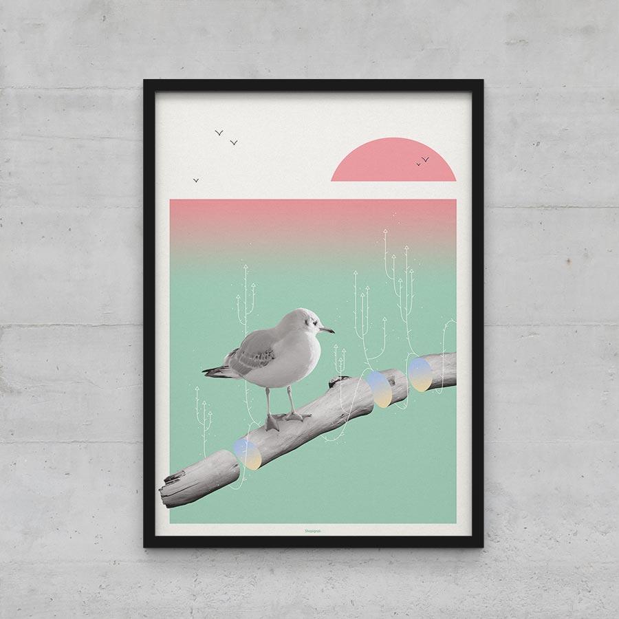 Affiche poster mouette goéland bois flotté