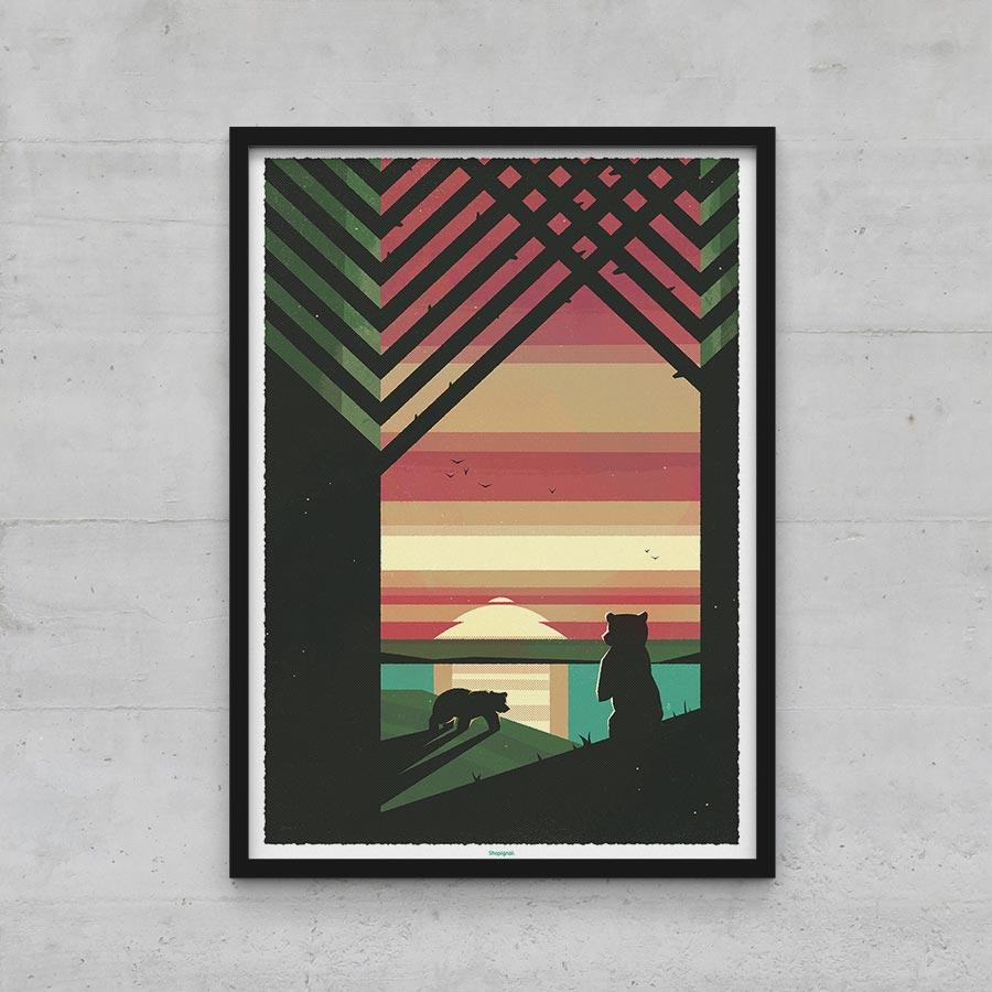 Affiche poster ours et lac graphique