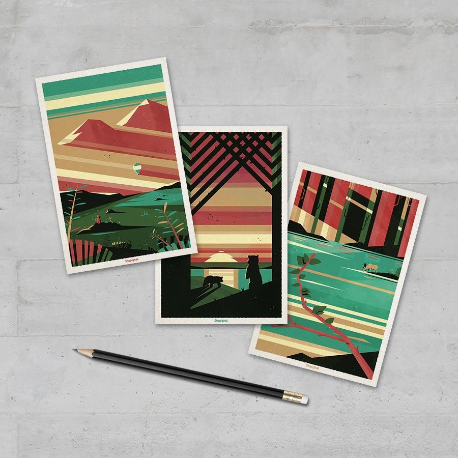 3 cartes postales fables graphiques