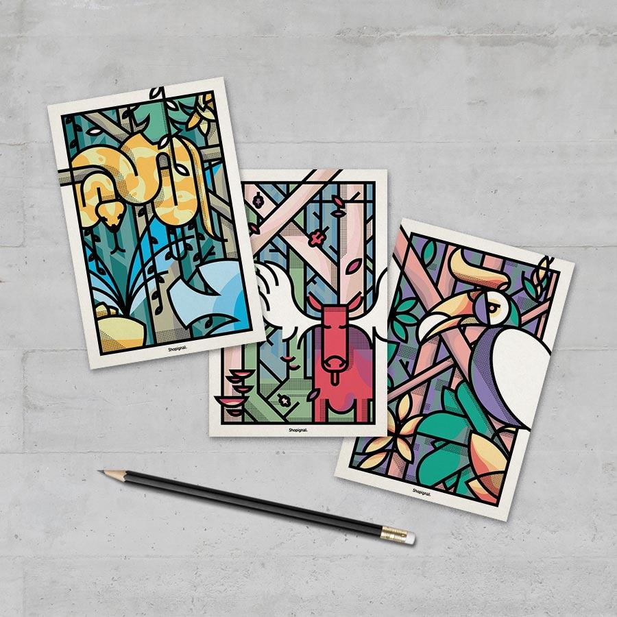 3 cartes postales géométrie animale