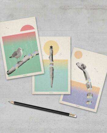 3 cartes postales poésie flottée