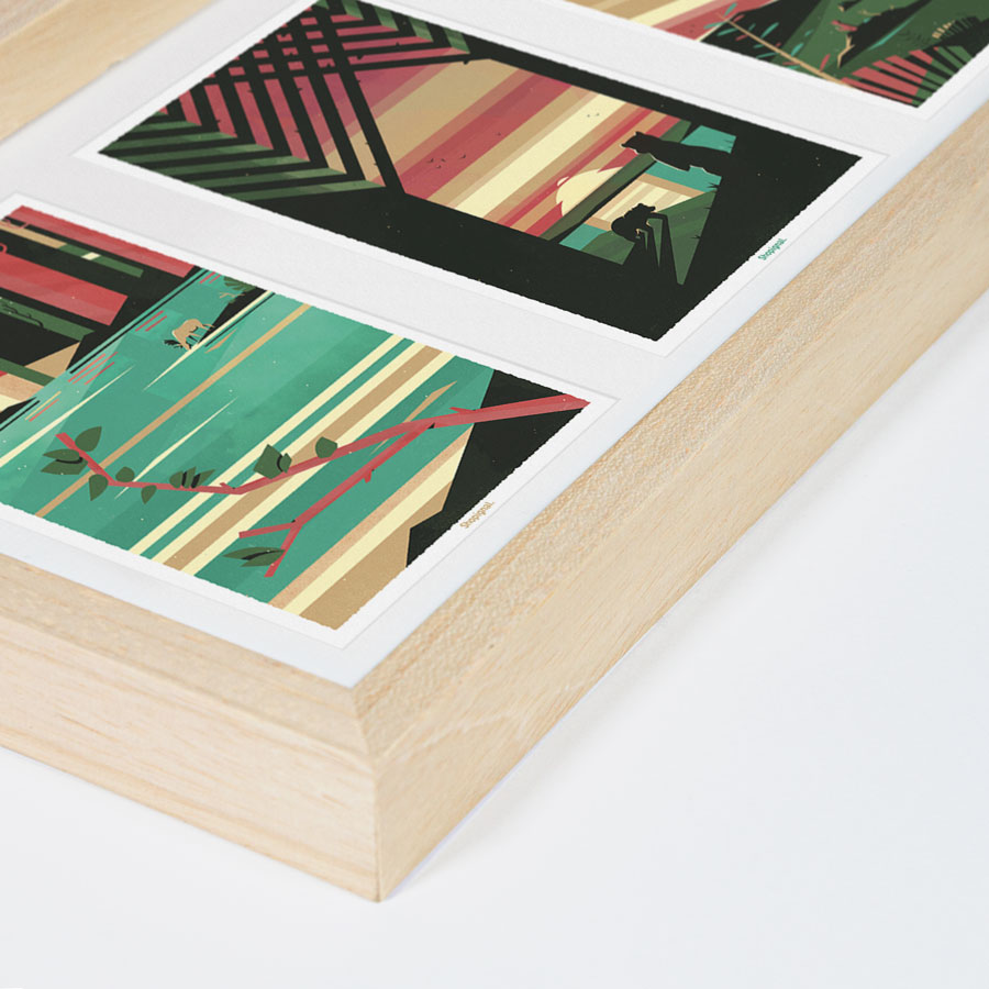 ZOOM triptyque cadre bois cartes postale fable graphique