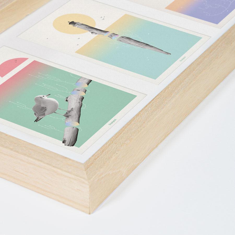 ZOOM triptyque cadre bois cartes postale poésie flottées