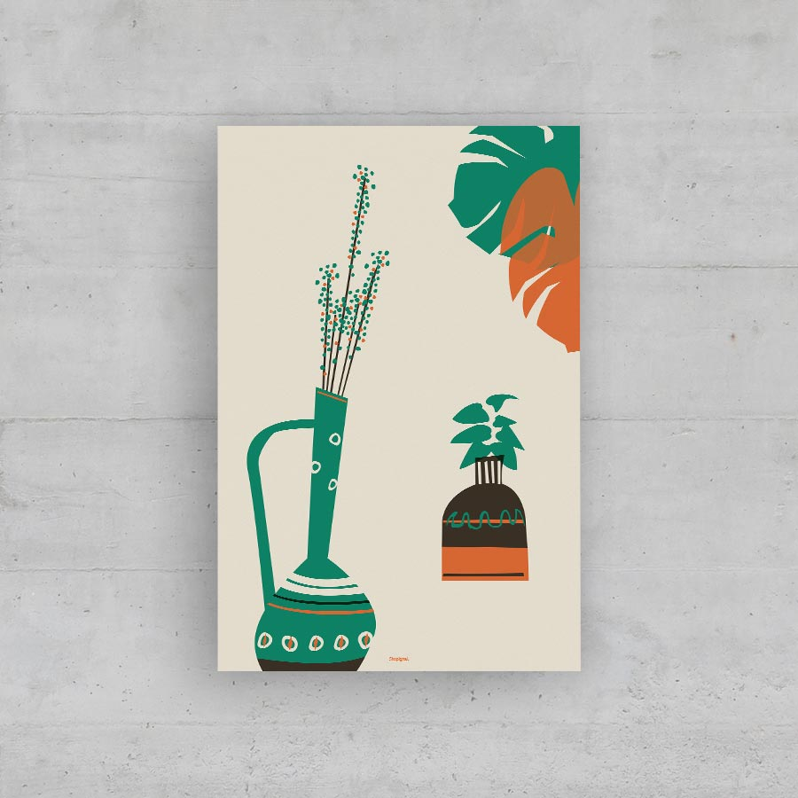 sérigraphie vases vintage retro